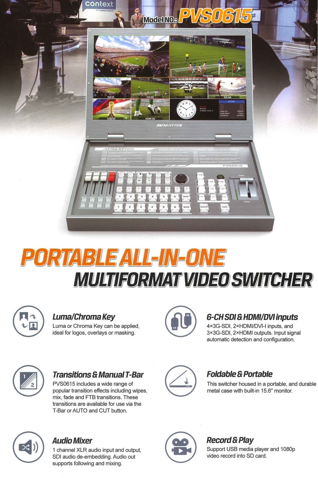 PVS0615 - Portable All In One Video Switcher
